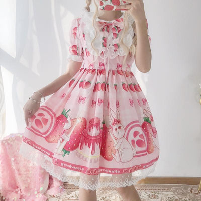 Strawberry Summer Lolita Dress Sweet Princess Outfit #JU2703-Pink-One Size-Juku Store