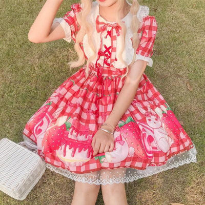 Strawberry Summer Lolita Dress Sweet Princess Outfit #JU2703-Red-One Size-Juku Store