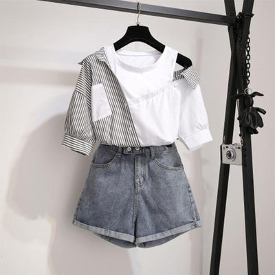 Striped Patchwork Off Shoulder Top Korean Blouse and Denim Shorts Set #JU2989-Black Set-XL-Juku Store