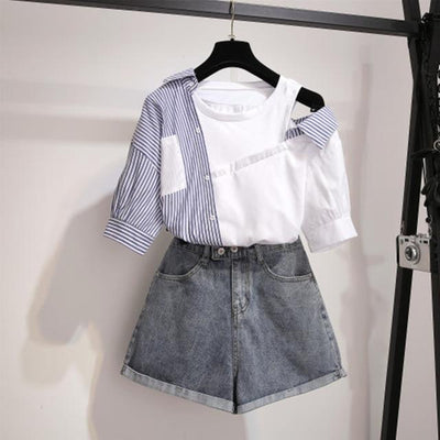 Striped Patchwork Off Shoulder Top Korean Blouse and Denim Shorts Set #JU2989-Blue Set-XL-Juku Store