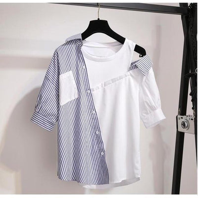 Striped Patchwork Off Shoulder Top Korean Blouse and Denim Shorts Set #JU2989-Blue T-shirt-XL-Juku Store
