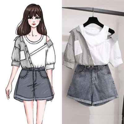 Striped Patchwork Off Shoulder Top Korean Blouse and Denim Shorts Set #JU2989-Juku Store