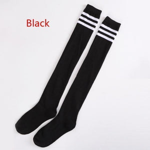 Striped Thigh High Over Knee School Socks [7 Colors] #JU2228-Black-Juku Store