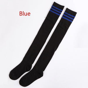 Striped Thigh High Over Knee School Socks [7 Colors] #JU2228-Blue-Juku Store