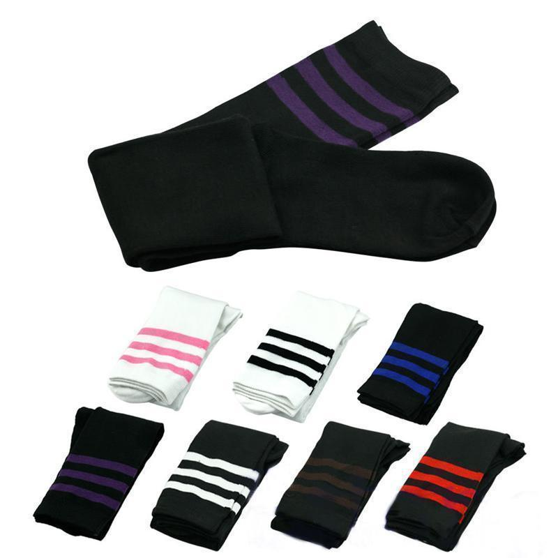 Striped Thigh High Over Knee School Socks [7 Colors] #JU2228-Juku Store