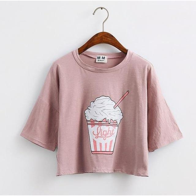 Summer Ice Cream Crop Top Korean Cotton T-Shirt #JU2781