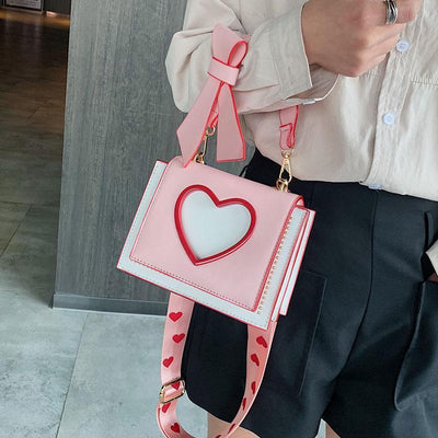 Sweet Heart and Bow Handbag Kawaii Messenger Bag #JU2620-Juku Store