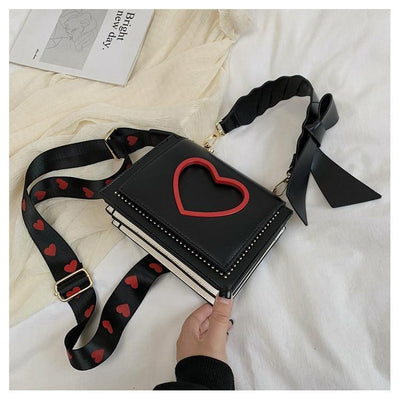 Sweet Heart and Bow Handbag Kawaii Messenger Bag #JU2620-Black-One Size-Juku Store