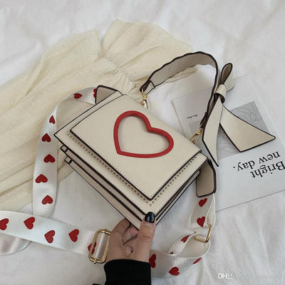 Sweet Heart and Bow Handbag Kawaii Messenger Bag #JU2620-Khaki-One Size-Juku Store