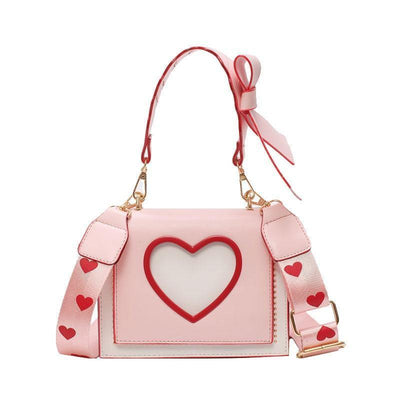 Sweet Heart and Bow Handbag Kawaii Messenger Bag #JU2620-Pink-One Size-Juku Store