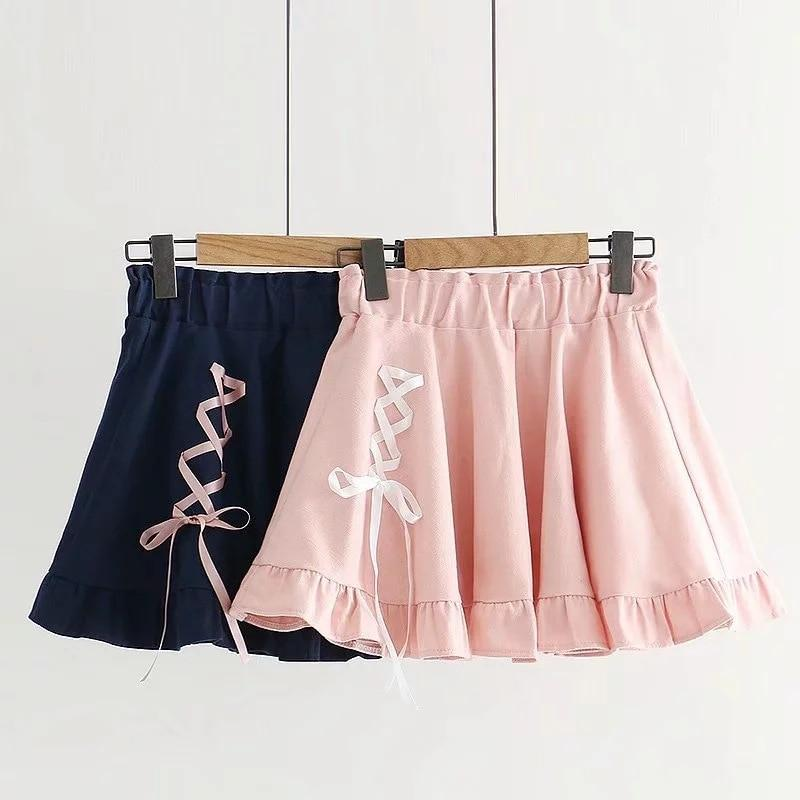 Sweet High Waist Lace Up Pleated Skirt Kawaii Mini #JU2835-Juku Store