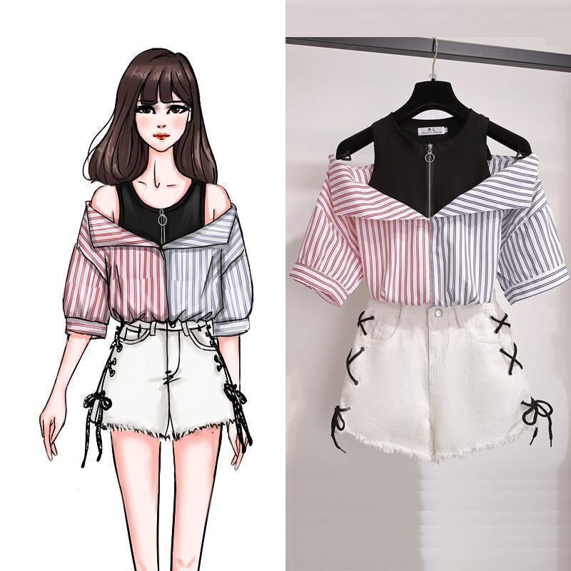 Sweet Korean Off Shoulder Top and Shorts Kawaii Two Piece Set #JU2515-Juku Store