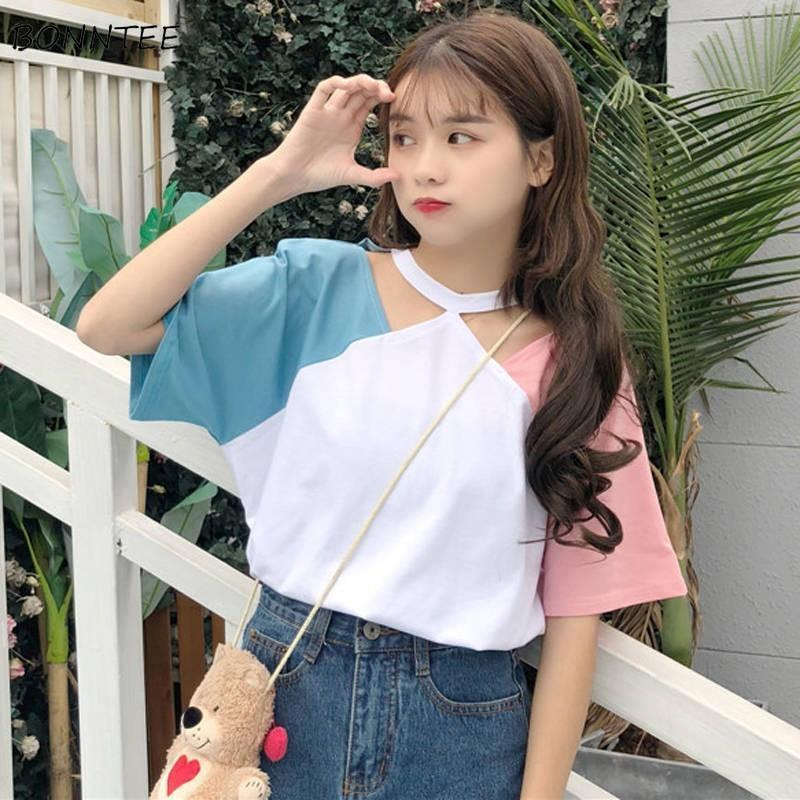 Sweet Korean Pastel Sleeve T-Shirt Loose Casual Top #JU2775-Blue-XXL-Juku Store