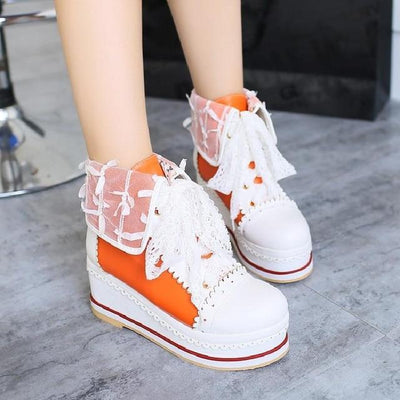 Sweet Lolita Bandage Bowknot Platform Shoes Kawaii Sneakers #JU3030-Orange-41-Juku Store