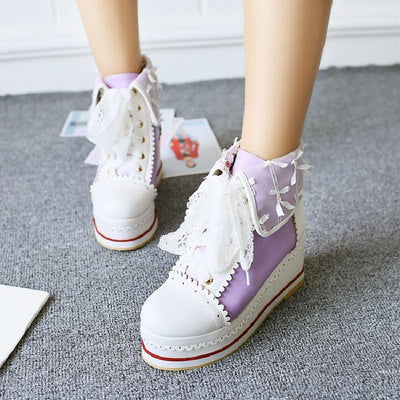 Sweet Lolita Bandage Bowknot Platform Shoes Kawaii Sneakers #JU3030-Purple-39-Juku Store