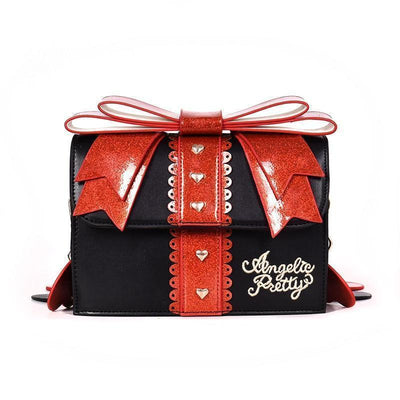 Sweet Lolita Glitter Bow Fashion Shoulder Bag [3 Colors] #JU2168-Black-Juku Store