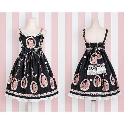 Sweet Lolita Princess Victorian High Waist Dress Kawaii Outfit #JU2710-Black-S-Juku Store