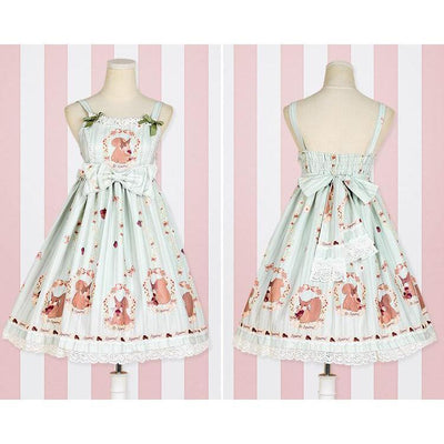 Sweet Lolita Princess Victorian High Waist Dress Kawaii Outfit #JU2710-Green-S-Juku Store