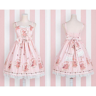 Sweet Lolita Princess Victorian High Waist Dress Kawaii Outfit #JU2710-Pink-S-Juku Store