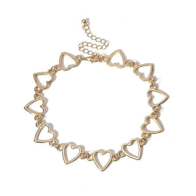 Sweet Love Heart Choker Korean Necklace #JU2481-Juku Store