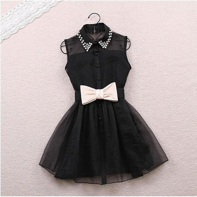 Sweet Pearl Collared Sleeveless Bow Belt Tutu Dress [2 Colors] #JU2198-Juku Store
