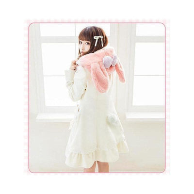Sweet Winter Wool Long Coat Bunny Hood With Ribbon Heart Pockets #JU2144-Juku Store