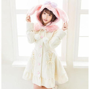 Sweet Winter Wool Long Coat Bunny Hood With Ribbon Heart Pockets #JU2144-Pink-S-Juku Store