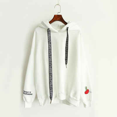 Table Tennis Embroidery Letter Drawstring Hooded Sweatshirt [3 Colors] #JU2330-White-XL-Juku Store