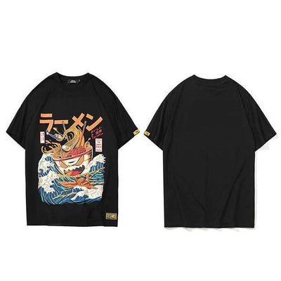 The Great Ramen T-Shirt Japanese Harajuku Top #JU2460-Black-L-Juku Store