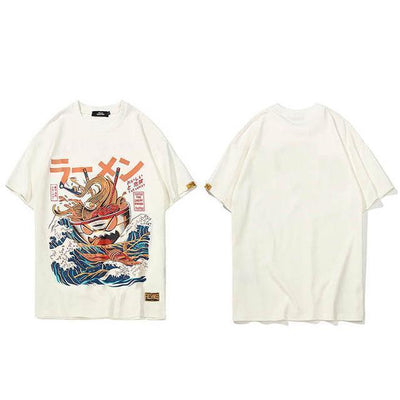 The Great Ramen T-Shirt Japanese Harajuku Top #JU2460-White-L-Juku Store