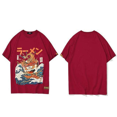 The Great Ramen T-Shirt Japanese Harajuku Top #JU2460-Wine Red-L-Juku Store