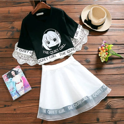 The Quiet Girl Two Piece Dress Kawaii Crop Top #JU2643-Black Top White Skirt-L-Juku Store