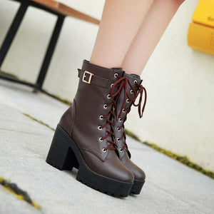 Thick Heel Lace-Up Ankle Boots with Buckle Detail [3 Colors] #JU2148-Juku Store