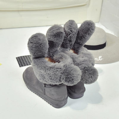 Thick Rabbit Ear Faux Fur Winter Ankle Boots [3 Colors] #JU2203-Juku Store