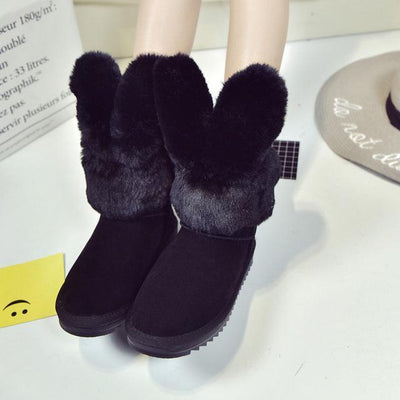 Thick Rabbit Ear Faux Fur Winter Ankle Boots [3 Colors] #JU2203-Black-35-Juku Store
