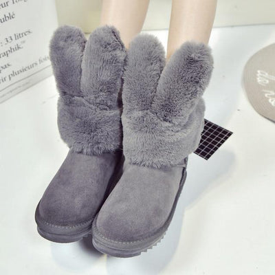 Thick Rabbit Ear Faux Fur Winter Ankle Boots [3 Colors] #JU2203-Grey-36-Juku Store