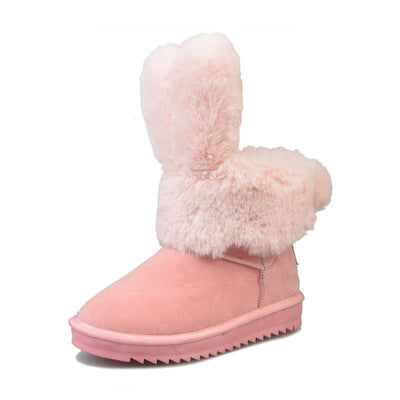Thick Rabbit Ear Faux Fur Winter Ankle Boots [3 Colors] #JU2203-Pink-40-Juku Store