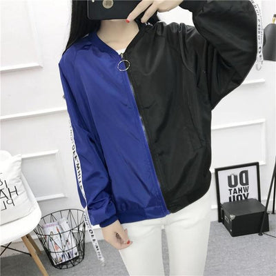 Thin Girl Windbreaker Bomber Jacket #JU2393-Blue Black-S-Juku Store