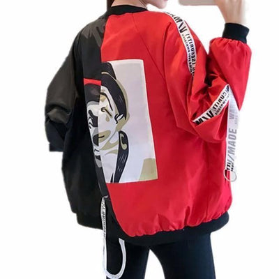Thin Girl Windbreaker Bomber Jacket #JU2393-Red Black-S-Juku Store