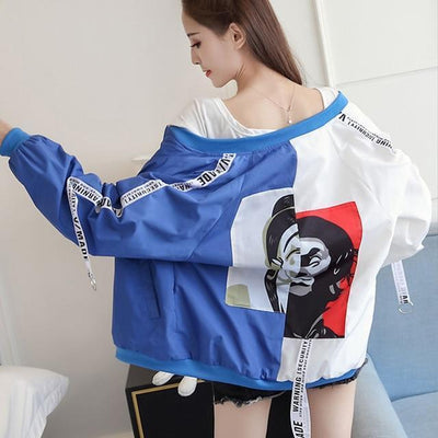 Thin Girl Windbreaker Bomber Jacket #JU2393-White Blue-S-Juku Store