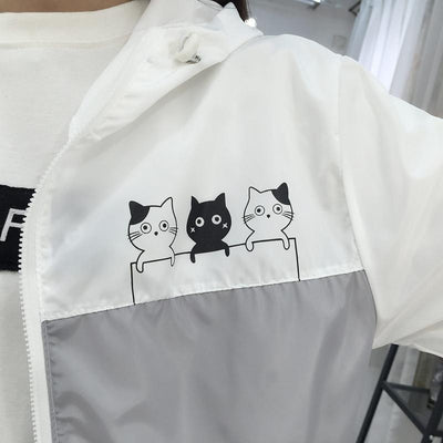 Three Cat Print Hooded Windbreaker Harajuku Outerwear #JU2483-Juku Store