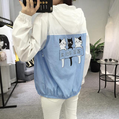 Three Cat Print Hooded Windbreaker Harajuku Outerwear #JU2483-Blue-M-Juku Store