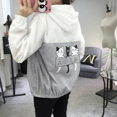 Three Cat Print Hooded Windbreaker Harajuku Outerwear #JU2483-Gray-M-Juku Store
