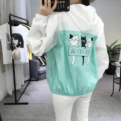 Three Cat Print Hooded Windbreaker Harajuku Outerwear #JU2483-Green-M-Juku Store