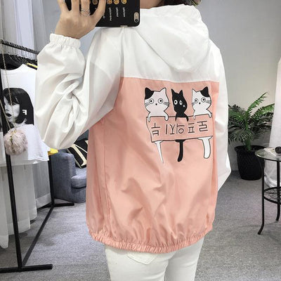 Three Cat Print Hooded Windbreaker Harajuku Outerwear #JU2483-Pink-M-Juku Store