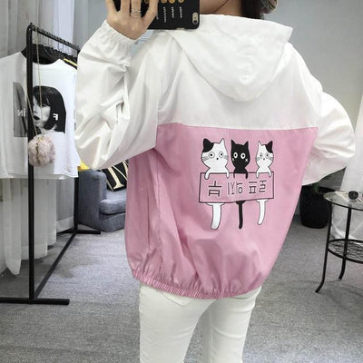 Three Cat Print Hooded Windbreaker Harajuku Outerwear #JU2483-Purple-M-Juku Store