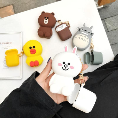 Totoro Line Friends AirPods Charging Case Silicone Cover and Pouch #JU2424-Juku Store