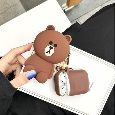 Totoro Line Friends AirPods Charging Case Silicone Cover and Pouch #JU2424-Brown-Juku Store