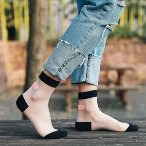 Transparent Band-Aid Ankle Socks Funny Japanese [5 Colors] #JU2179-Juku Store