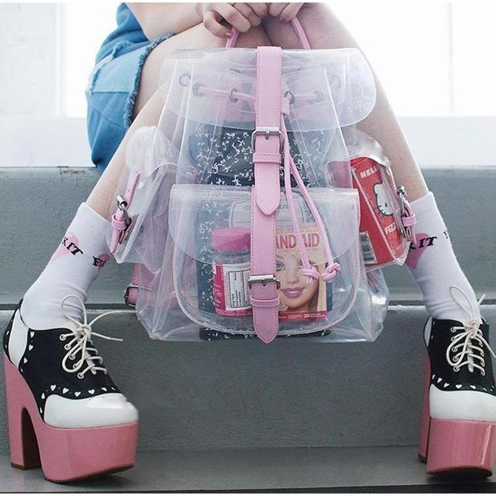 Transparent Kawaii Summer Backpack [2 Colors] #JU1865-Pink-Juku Store